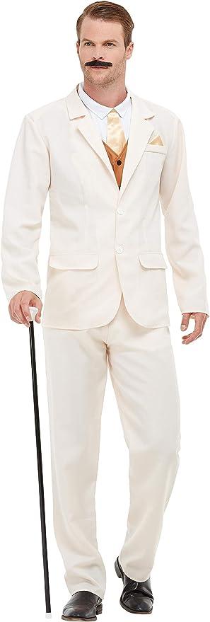 1920s Men's Costumes: Gatsby, Gangster, Peaky Blinders, Mobster, Mafia Smiffys 50724L Roaring 20s Gent Costume Men White L - Size 42-44