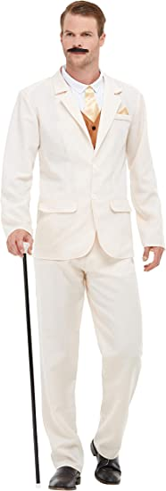 1920s Men's Suits History Smiffys 50724XL Roaring 20s Gent Costume Men White XL - Size 46-48