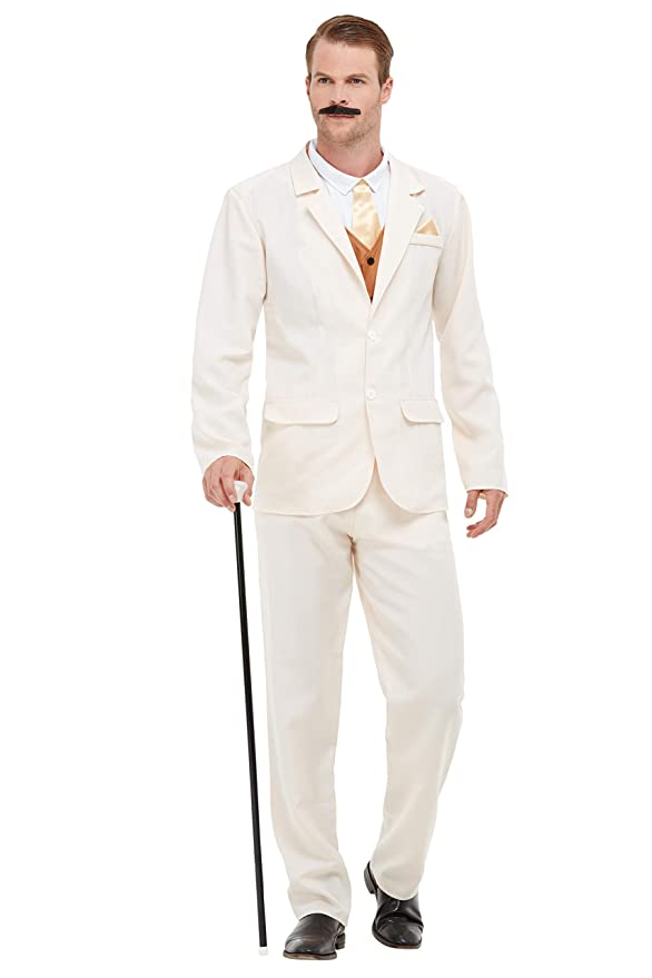 1920s Men's Costumes: Gatsby, Gangster, Peaky Blinders, Mobster, Mafia Smiffys 50724XL Roaring 20s Gent Costume Men White XL - Size 46-48