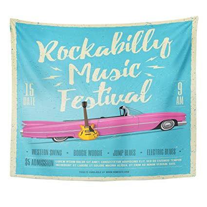 Emvency Tapestry Pink 50S Rockabilly Music Festival Vintage Styled Concert  60S Home Decor Wall Hanging For