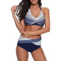Century Star Chic Retro V Neck Halter Padded Triangle Bikini Swimsuit Bathing Suits for Women Teens