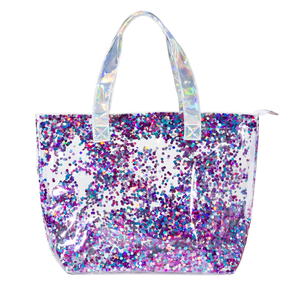 Girls Multi-Use Double Layer PVC Shine Bright Fashion Tote - Filled with Sparkling Confetti - Large 20'' x 14'' Size