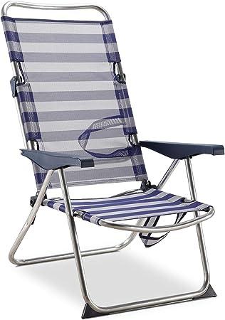 Oferta amazon: Solenny 50001072725175 - Silla Playera-Cama Alta 4 Posiciones con Asas con Estabilizadores Azul y Blanco
