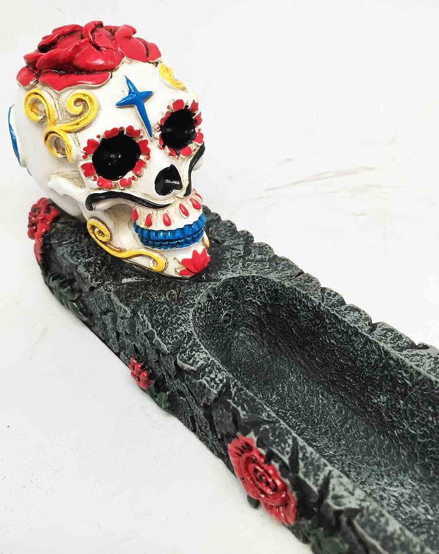 DIAS DE LOS MUERTOS DAY OF THE DEAD RED BLACK SKULL INCENSE BURNER SCULPTURE