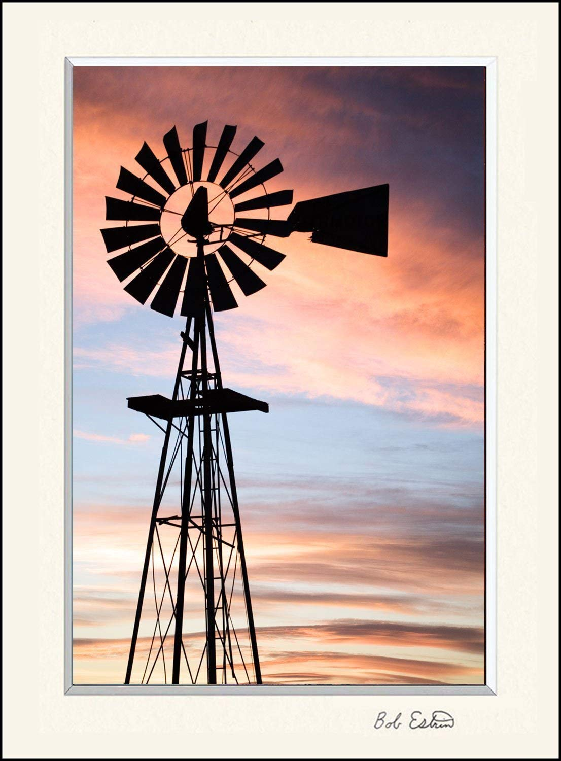 11 x 14 mat including photograph of the vintage rustic farm windmill. This country ranch setting at sunset was a beautiful scene.