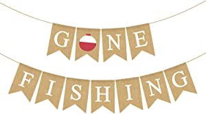 Jute Burlap Gone Fishing Banner Fishing 1st Bday Retirement Baby Shower Birthday Party Decoration Supply