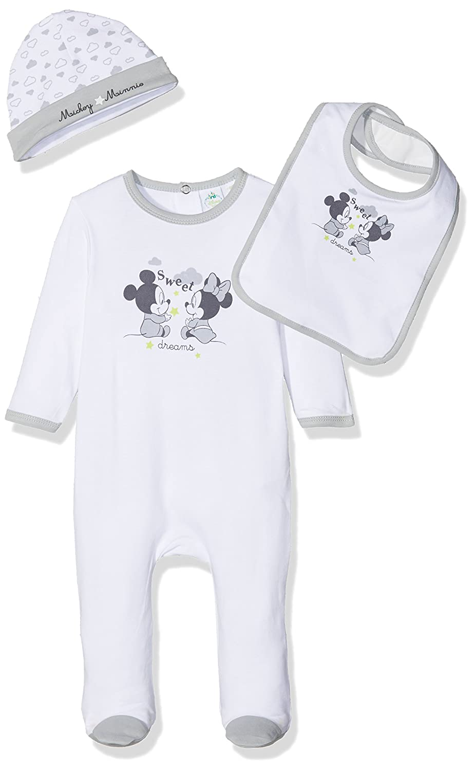 Mickey Mouse Baby Boys' Mickey & Minnie Box Lingerie Set (White 15-4101TC) 3-6 Months AQE0338
