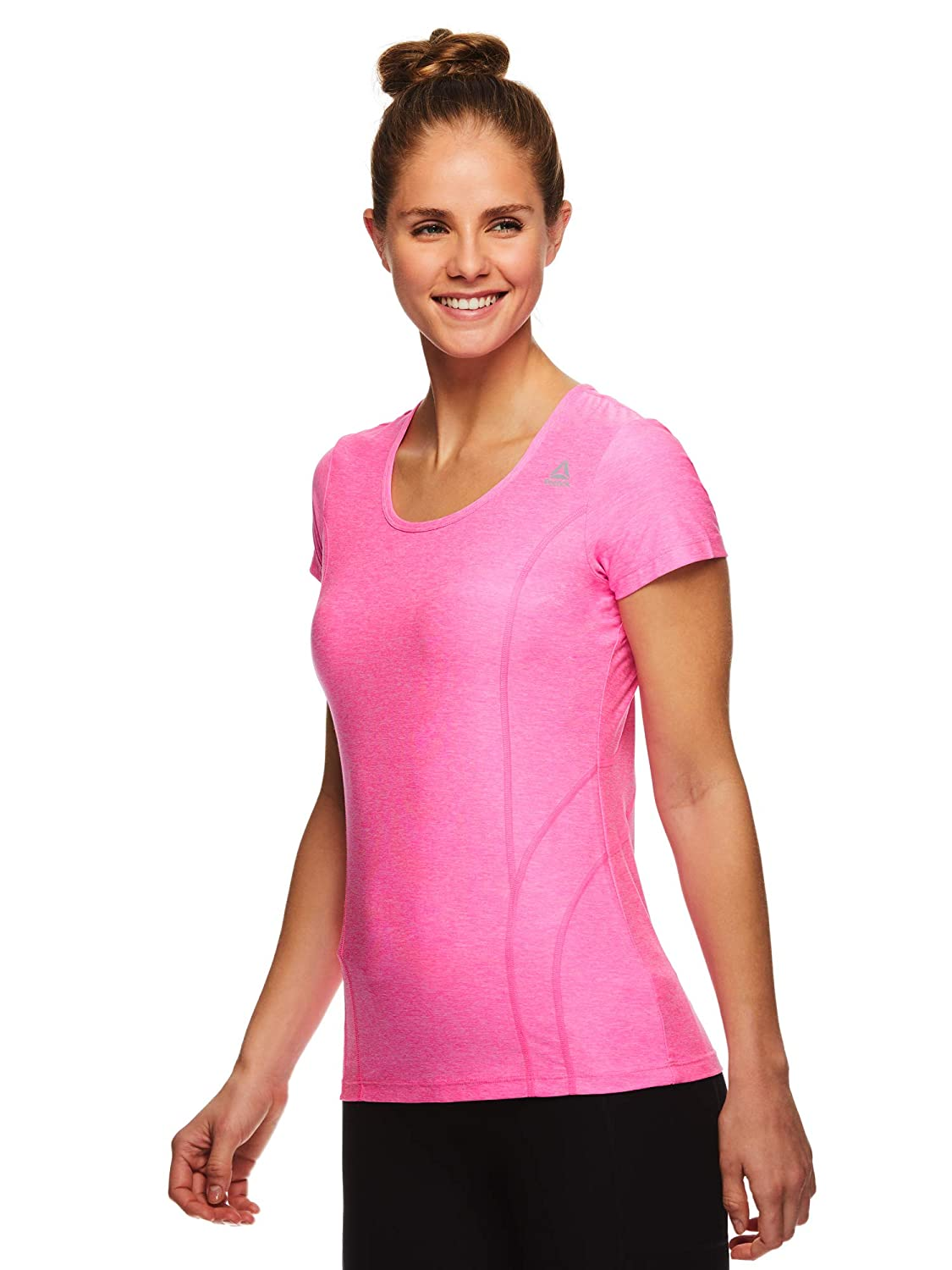Large Reebok Womens Dynamic Fitted Performance Short Sleeve T-Shirt Dyna SS Ultra Pink Heather
