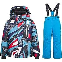 Big Boy's 2 piezas Colorblock Snow Pantalones y chaqueta de snowsuit traje de esquí impermeable a prueba de viento…