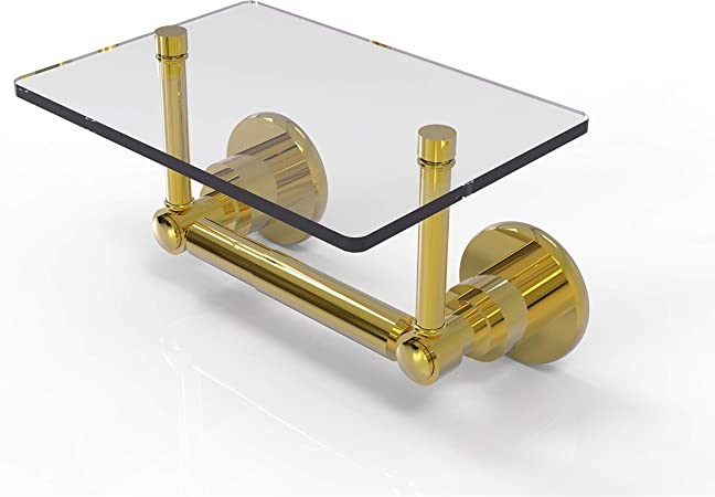 Allied Brass Ws Glt 24 Washington Square Collection Two Post Tissue Glass Shelf Toilet Paper Holder Polished Brass Amazon Com