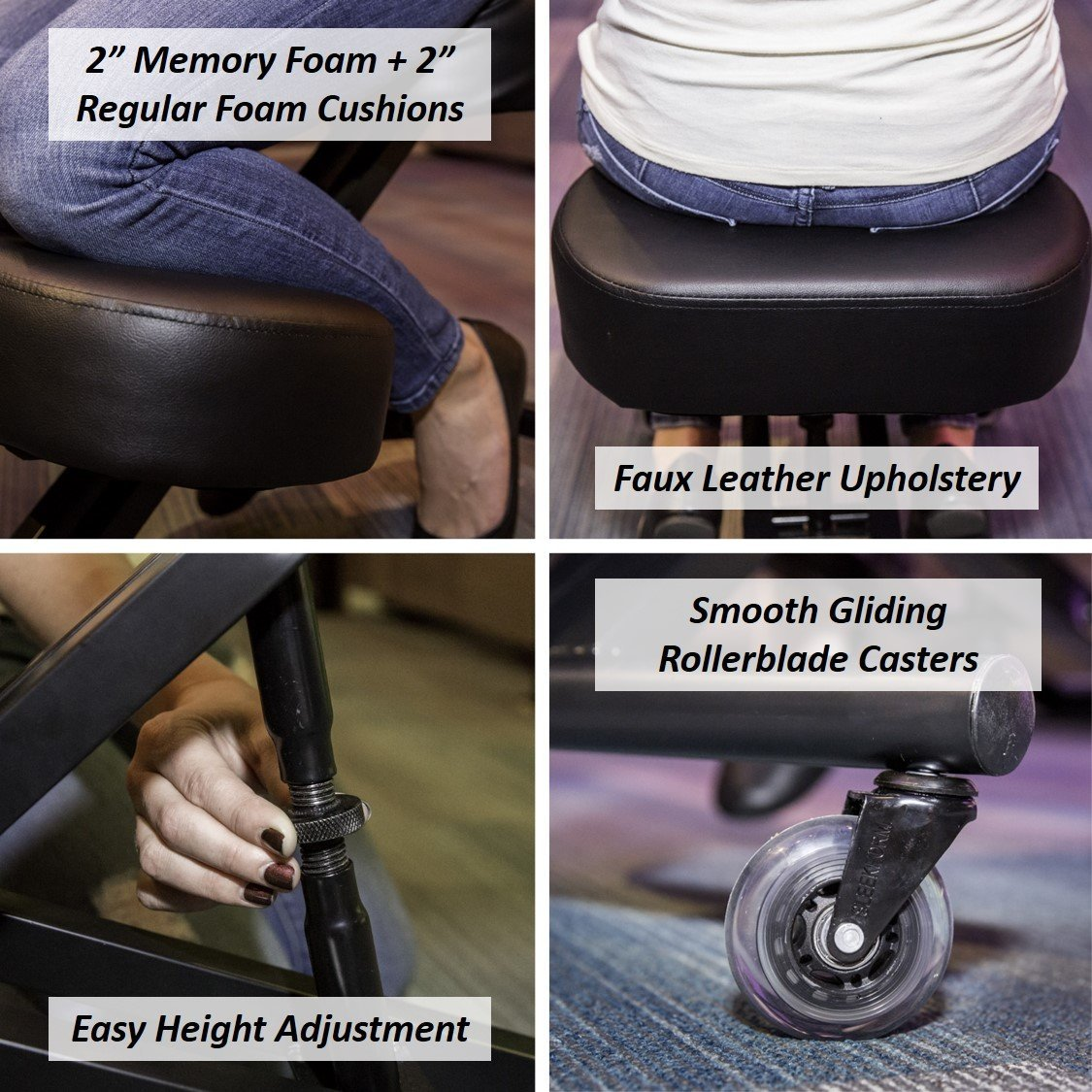 Sleekform Ergonomic Kneeling Chair M2 (Memory/Regular Foam), Adjustable Stool for Home, Office, and Meditation - Rollerblade Casters by Sleekform (Image #7)