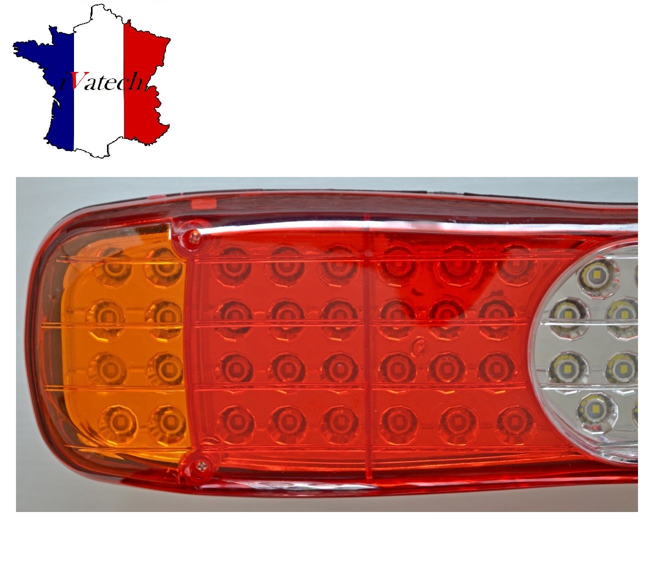 PAIRE 12V 45 LED FEUX ARRIERE CAMION REMORQUE FOURGON CHASSIS 5 FONCTONS