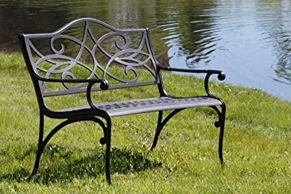 Beau The Outdoor Patio Store Commercial Grade Cast Aluminum Garden Bench
