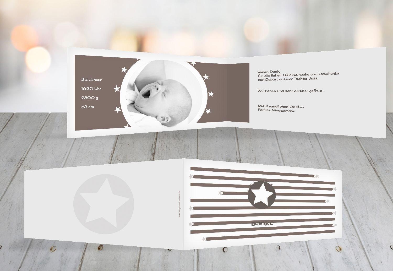 Kartenparadies Kartenparadies Kartenparadies Danksagung für Geburt Baby Dankeskarte a new star, hochwertige Danksagungskarte Baby inklusive Umschläge   100 Karten - (Format  215x105 mm) Farbe  Hellbraun B01N6WW4TN | Guter weltweiter Ruf  | Attraktives Aussehen  | Günstige 31c2b1