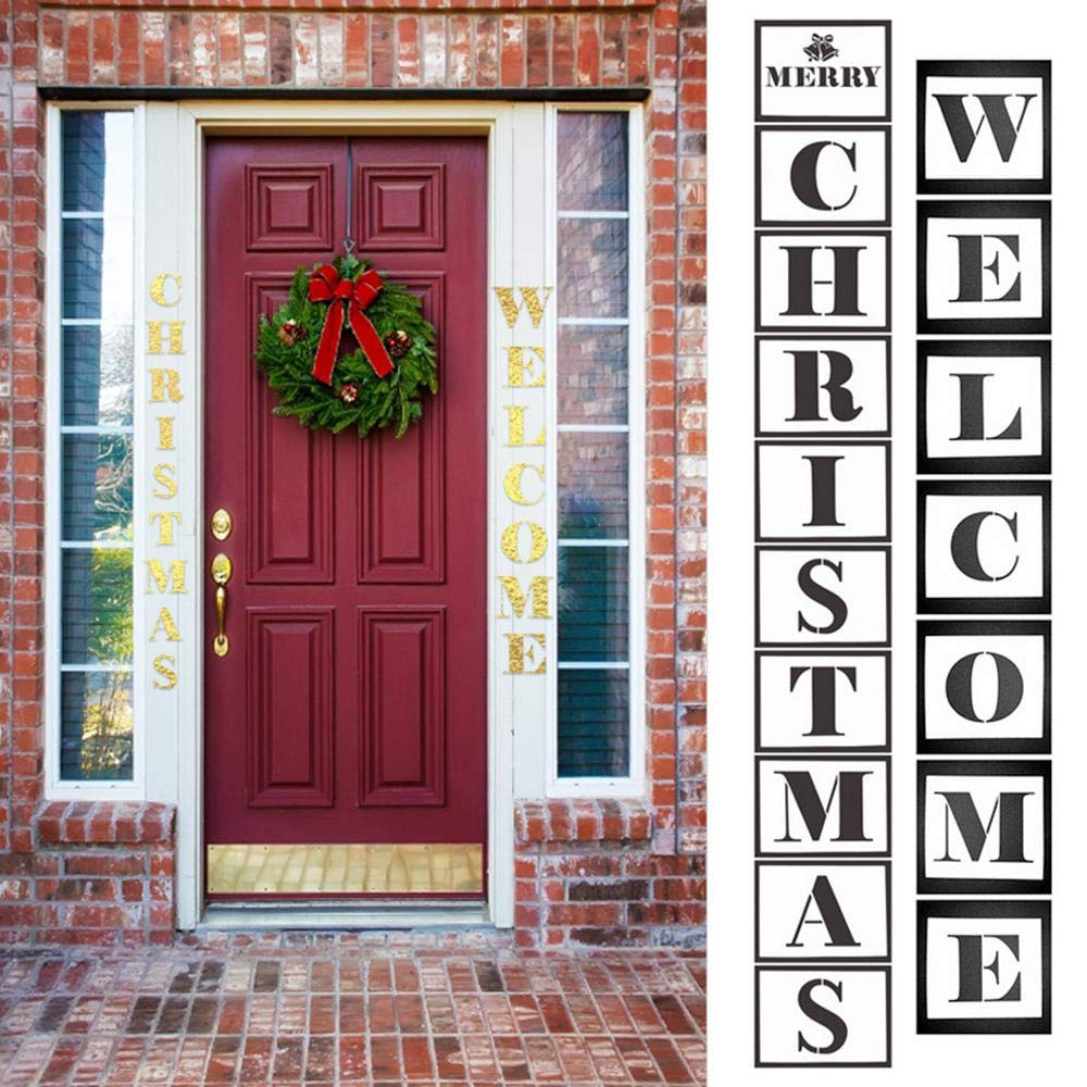 FOONEE Welcome Sign Stencils Restaurant 17PCS Reusable DIY Welcome Sign for Hotel Welcome Painting Stencils,Christmas Welcome Painting Sign Home Florist
