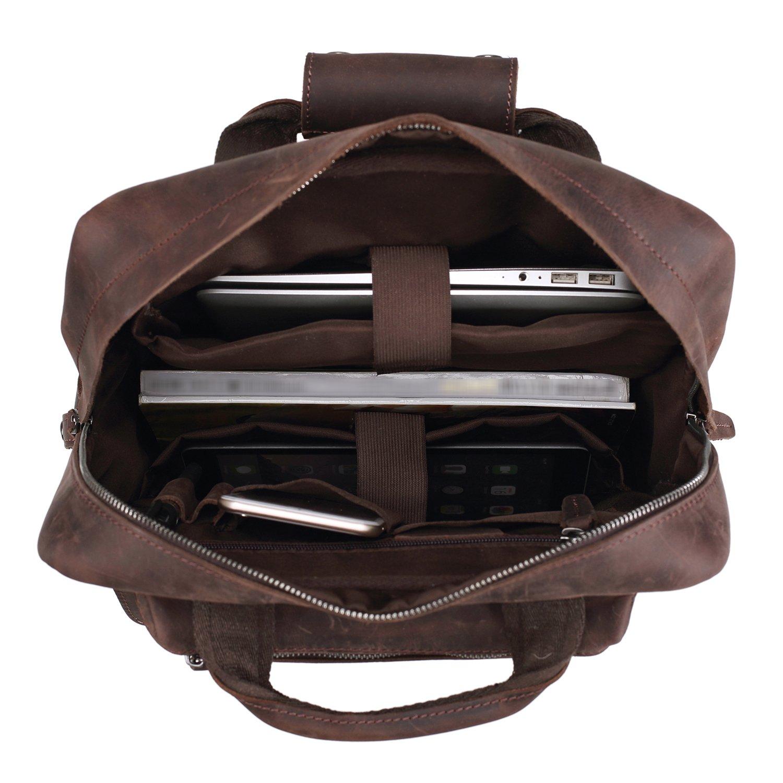 Polare Mens Handcrafted Real Leather Vintage Laptop Backpack Shoulder Bag Travel Bag Large by Polare