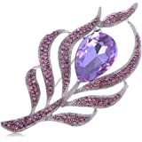 Alilang Antique Large Amethyst Color Center Stone Rhinestone Flower Pin Brooch