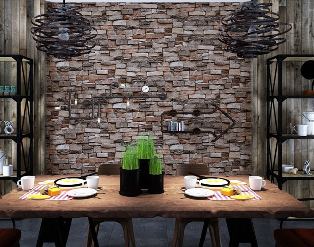 Brick Wallpaper, 3D Stone Textured, Removable and Waterproof for Home Design,Livingroom, Bedroom, Kitchen and Bathroom Decoration 20.8In x 32.8Ft, Gray/Brown/Black by Vopie (Image #4)