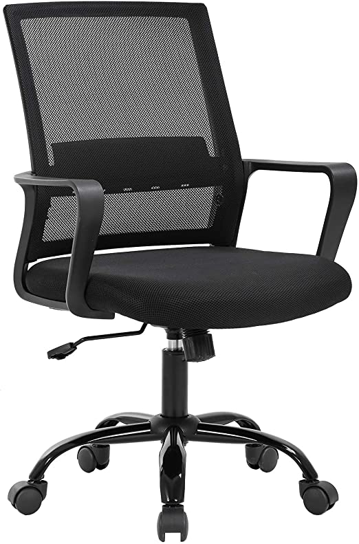 Amazon Com Home Office Chair Ergonomic Desk Chair Swivel Rolling Computer Chair Executive Lumbar Support Task Mesh Chair Adjustable Stool For Women Men Black Furniture Decor