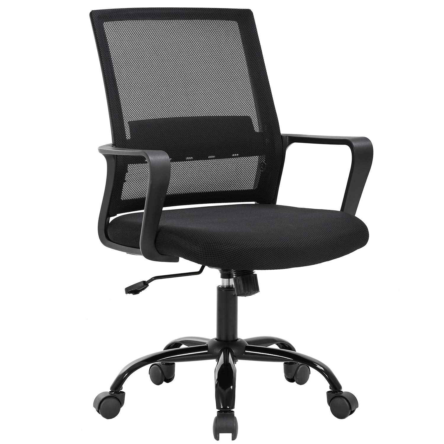 Home Office Chair Ergonomic Cheap Desk Chair Swivel Rolling Computer Chair Executive Lumbar Support Task Mesh Chair Adjustable Stool for Women Men,Black by BestOffice