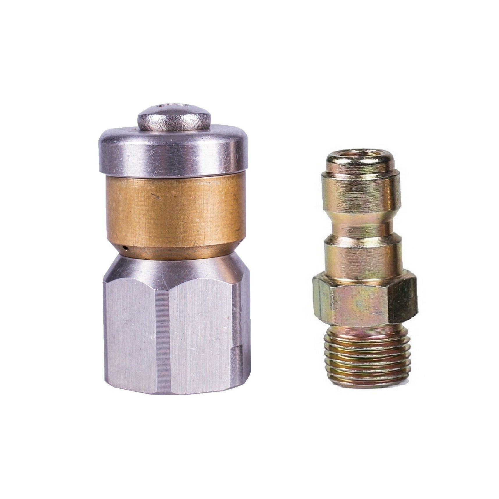 Tools Pro Sewer Jetting Rotating Nozzle For High Pressure Washer 4000 PSI Drain Clean Water, NPT 1/4in Female and 1/4in Quick Plug Two Patterns