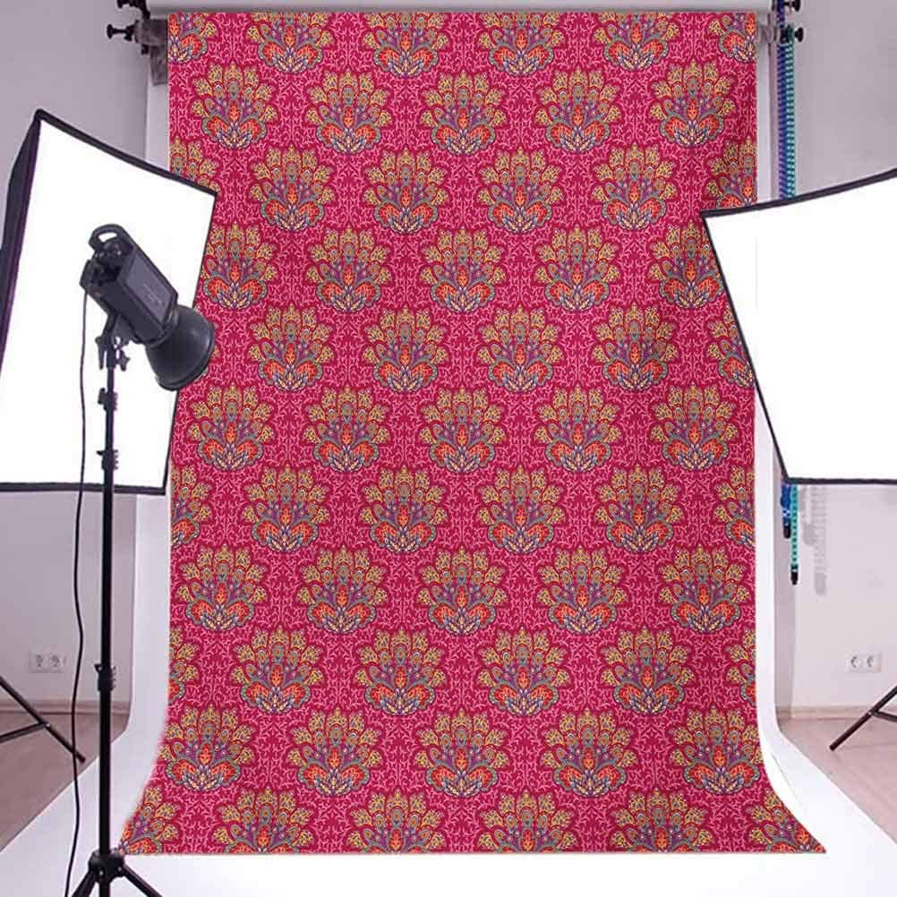 Lotus 10x15 FT Photo Backdrops,Colorful Flower of South with Paisley and Daisy Motifs Ornamental Arrangement Background for Baby Birthday Party Wedding Vinyl Studio Props Photography Multicolor