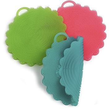 igadgitz Home U6884 – Estropajo Silicona Sin BPA Esponja Silicona Multiusos - Cepillo Silicona Limpia Frutas
