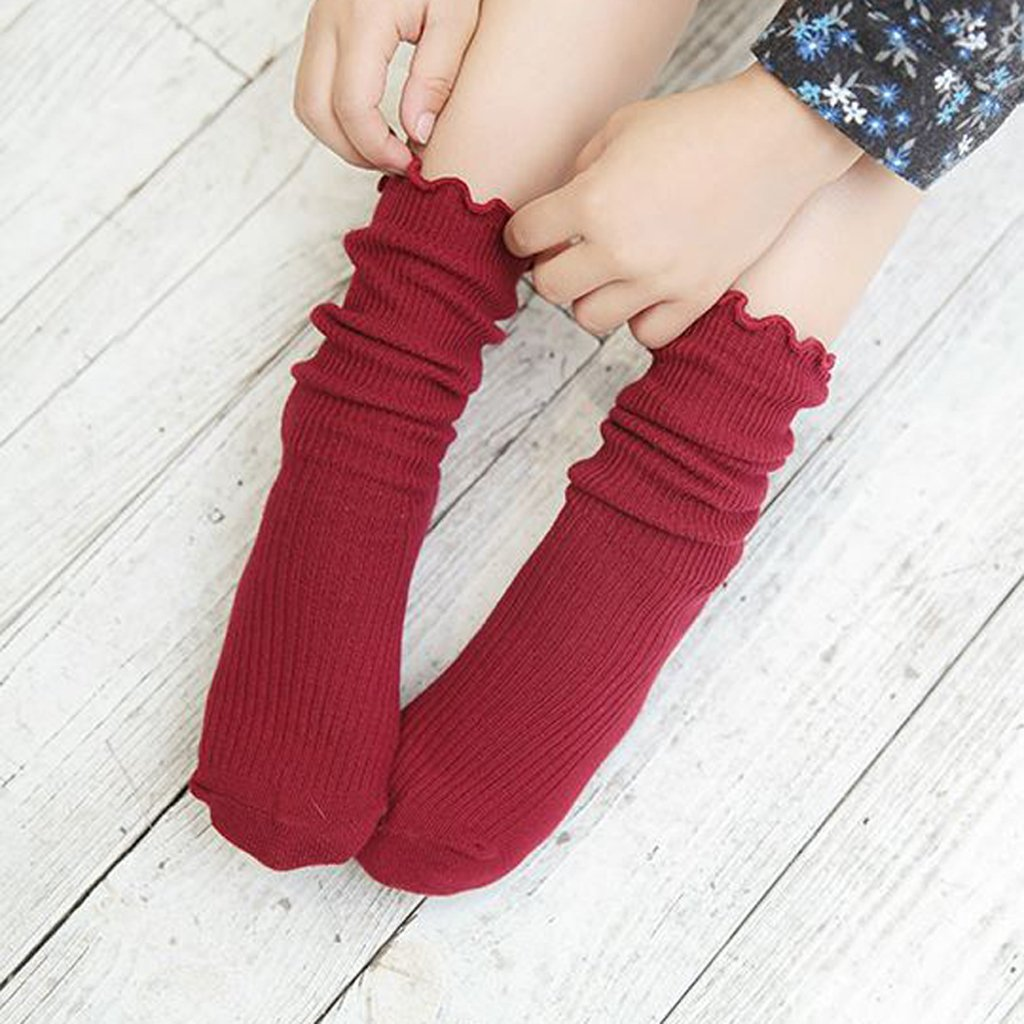GaoCold Cute Solid Color Cotton Blend Crew Calf Length Tube Socks For Girls