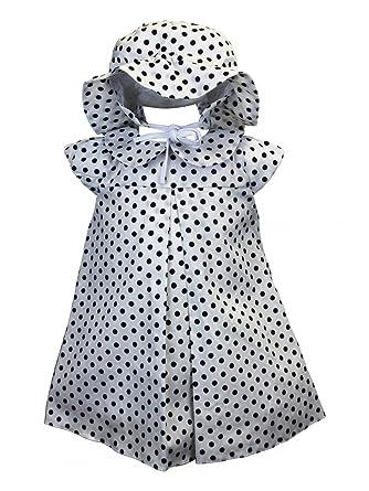BIMARO Baby Mädchen Kleid Paula weiß mit Punkte blau Babykleid ...