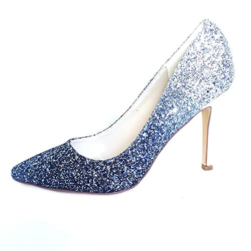 05c3808a420 Creativesugar Gradient Color High Heels, 3D Glitter Silver Gold Blue  Hotpink Dress Shoes Pointed Toe Woman Pumps