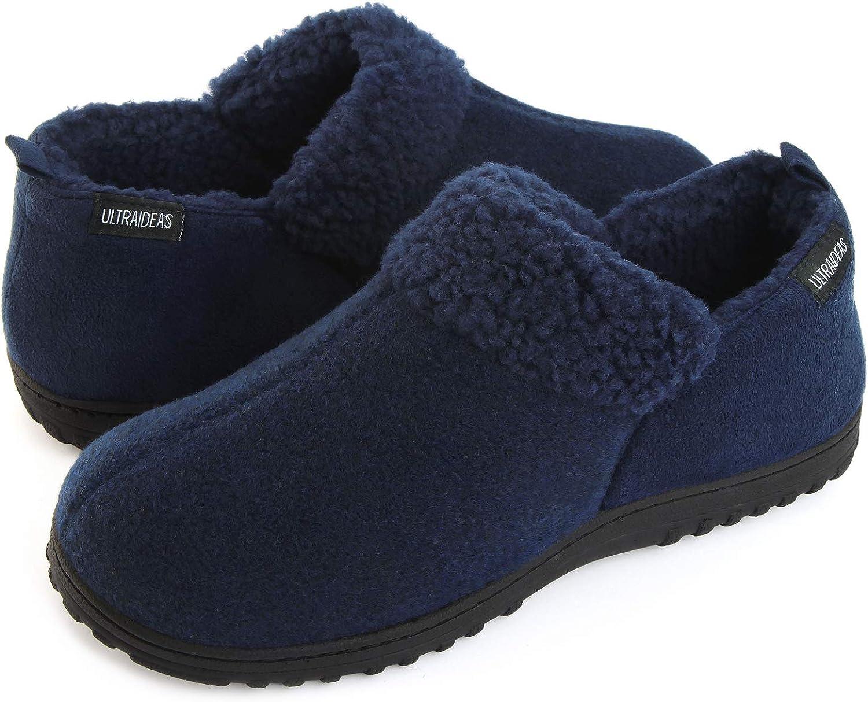 Wool-Like Blend Micro Suede House Shoes w//Anti-Slip Indoor Outdoor Rubber Sole ULTRAIDEAS Mens Cozy Memory Foam Slippers w//Warm Fleece Lining