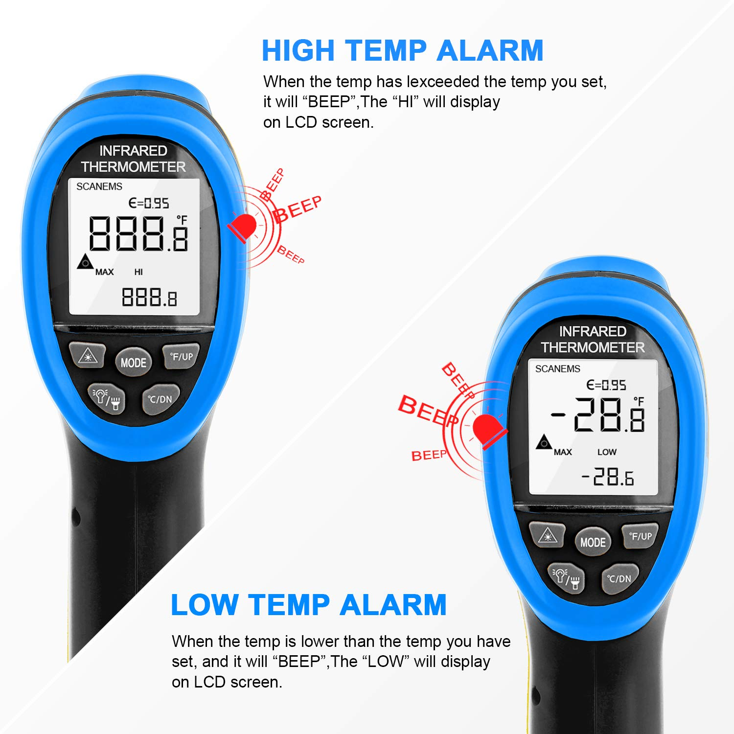Non-contact infrared thermometer gun automatic switch-off max//min//avg for cooking with data storage background lighting AP-985B pyrometer -50~1360 ℃ -58~2480 ℉