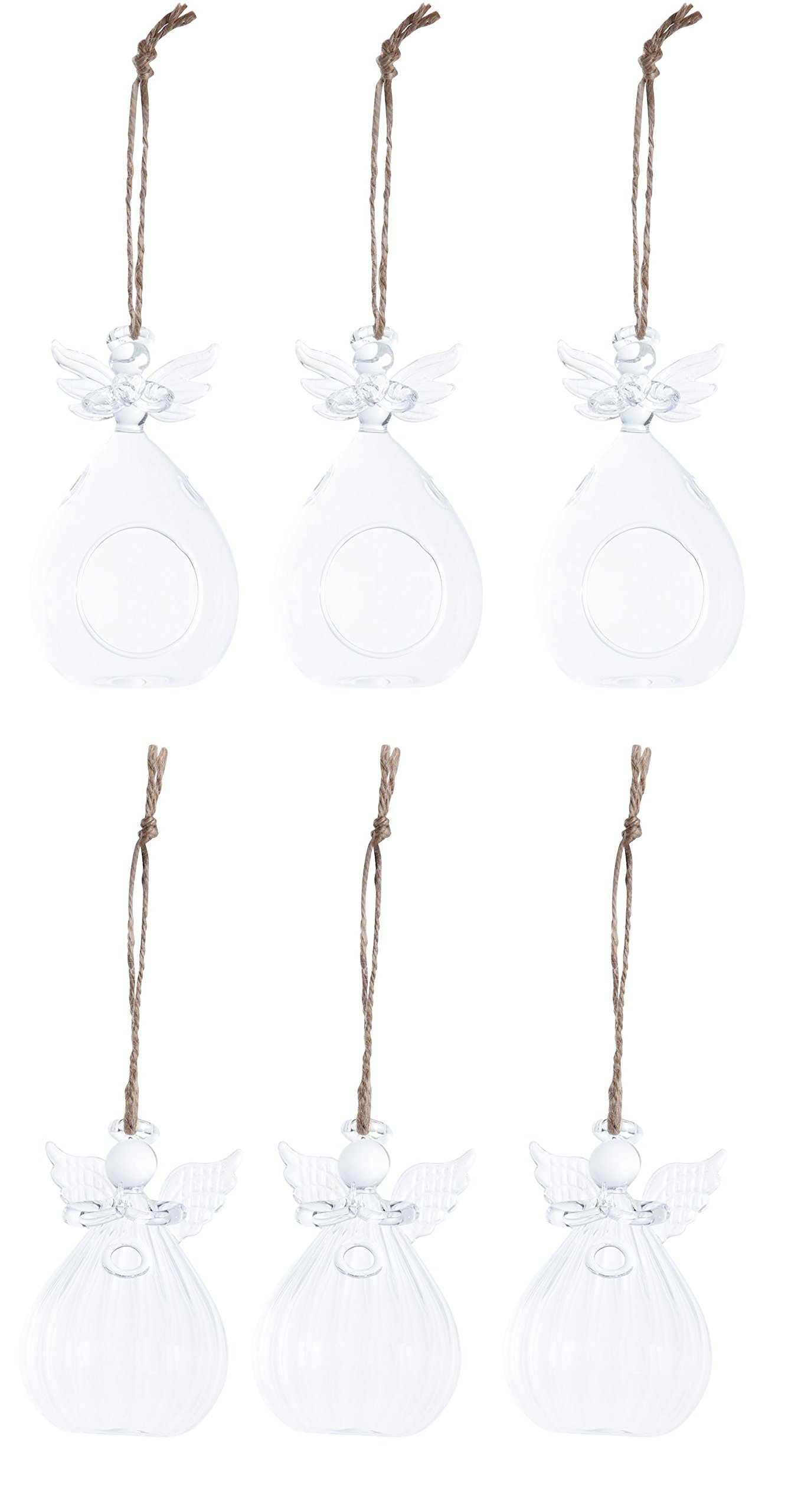 Juvale Hanging Glass Terrarium - 6-Pack, 2 Designs Glass Orbs Terrarium Holder Succulent Plants, Colorful Sand, Tealight Candles, Indoor Outdoor House Decor, 2 Assorted Angel Design by Juvale