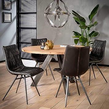 Pharao24 Runder Tisch Im Loft Design Massivholzplatte Amazon De