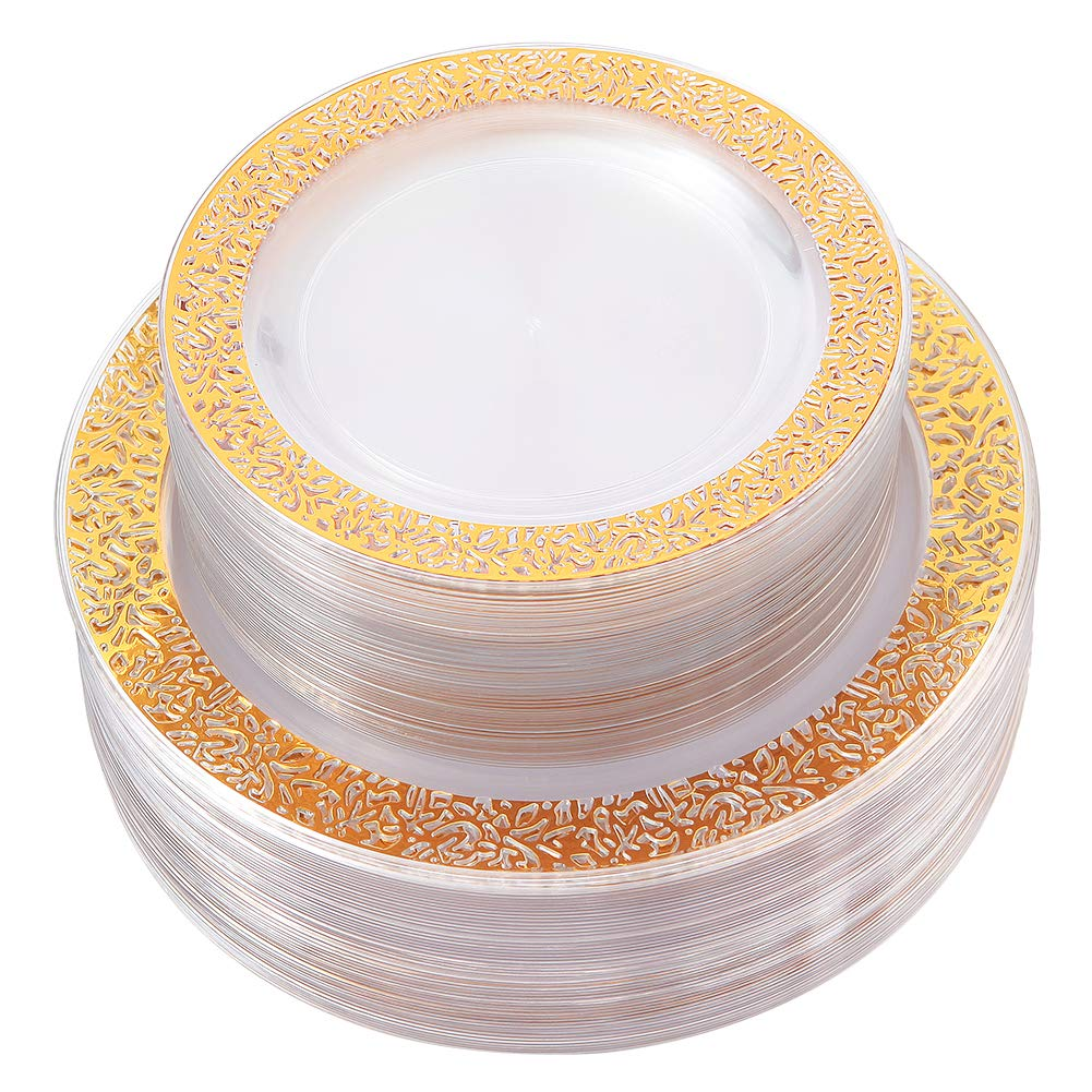 Gold Plastic Plates 102 Pieces, Disposable Dinner Plates, ELegant Clear Lace Plates Includes: 51 Dinner Plates 10.25 Inch and 51 Salad/Dessert Plates 7.5 Inch by IOOOOO