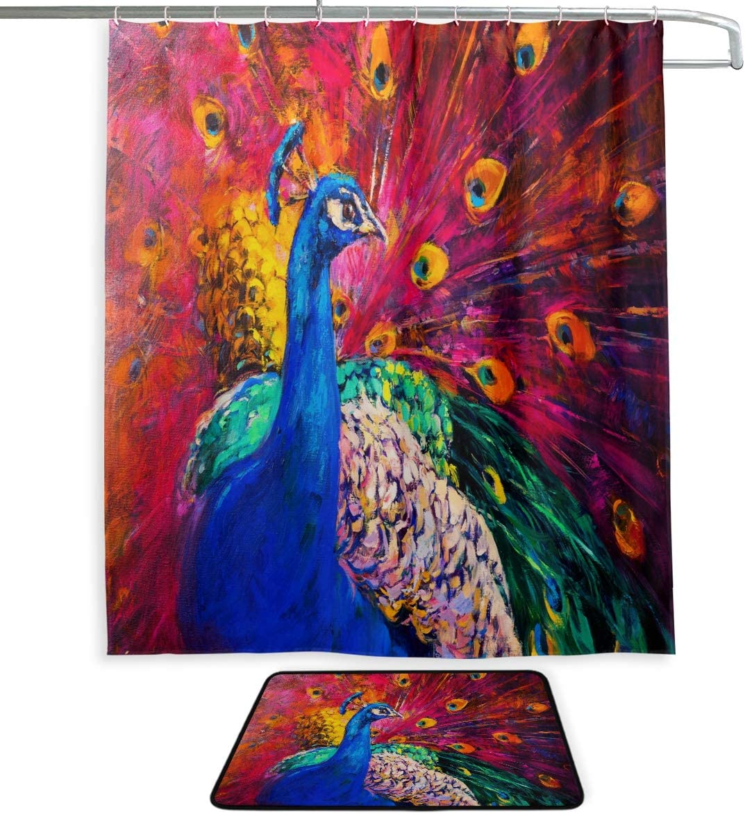 "Naanle Oil Painting Multicolored Peacock Waterproof Polyester Fabric Shower Curtain (60"" x 72"") Set with 12 Hooks and Bath Mats Rugs"