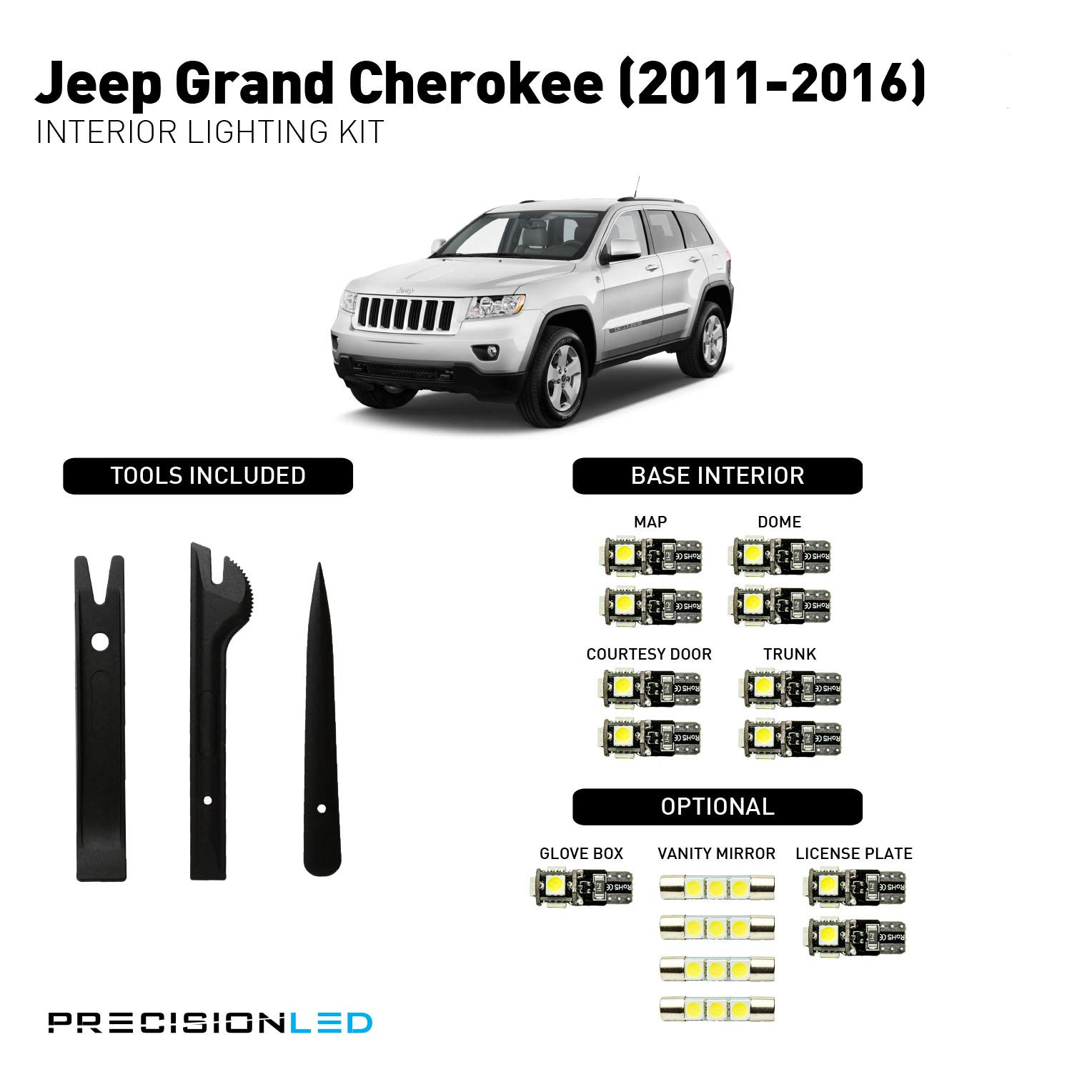 Precisionled 2011 2019 Jeep Grand Cherokee Led Interior Door Light Lighting Kit With License Plate Leds Install Tools 6000k Automotive