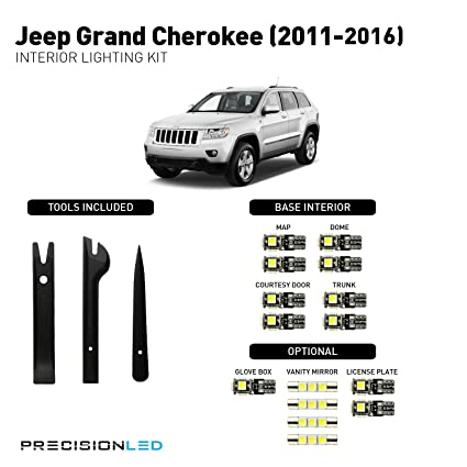 Request A Jeep Replacement Light Bulb Size Chart >> Amazon Com Precisionled 2011 2019 Jeep Grand Cherokee Led Interior