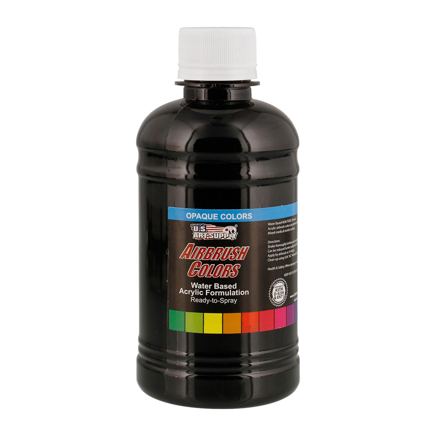 US Art Supply Deep Black Opaque Acrylic Airbrush Paint 8 oz.