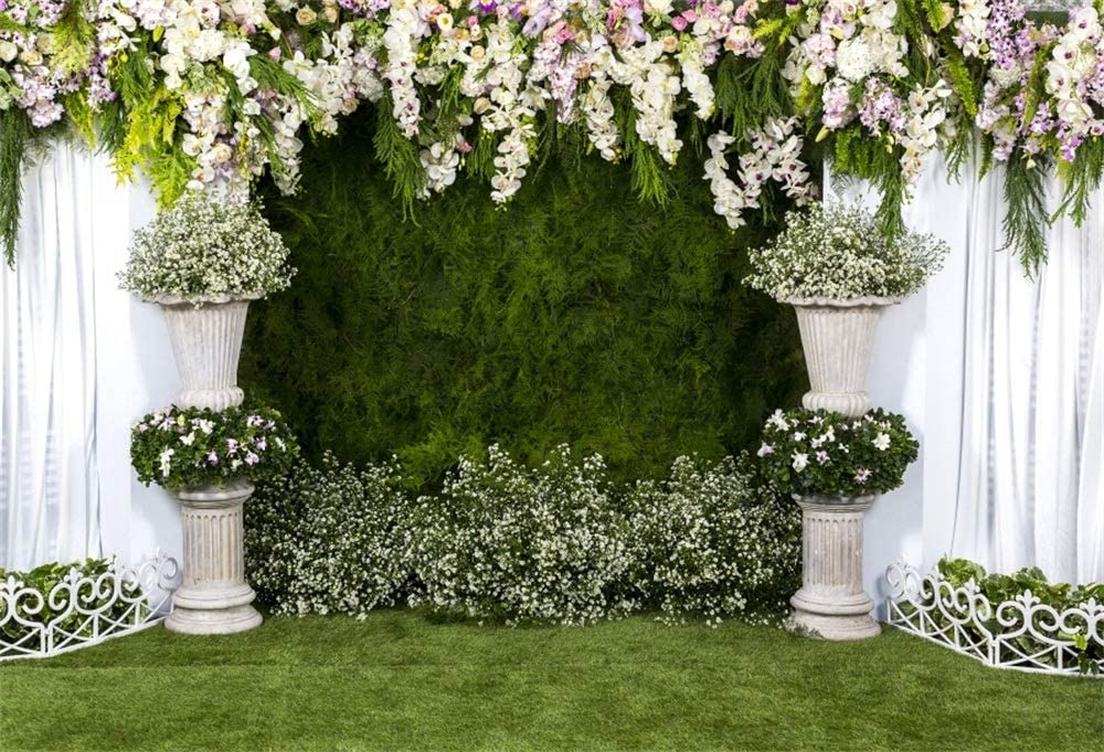 Laeacco Arch Wedding Flowers Backdrop 7x5ft Vinyl Photography Background Stone Planter Flowers White Curtain Green Ivy Wall Decoration Outdoos Ceremony Green Grassfield Backdrop