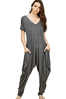 f6a02a3bcb18 Annabelle Women s Comfy Casual Short Sleeves Harem Long Pants Jumpsuits  with Pockets