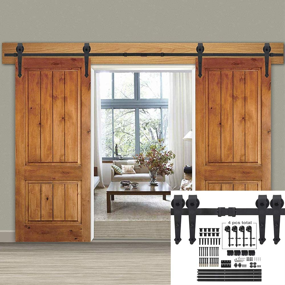 Smartxchoices 12FT Double Sliding Barn Door Hardware Kit Classic Mount Barn Door Rail System w//Track Rollers Matching Hardware Black