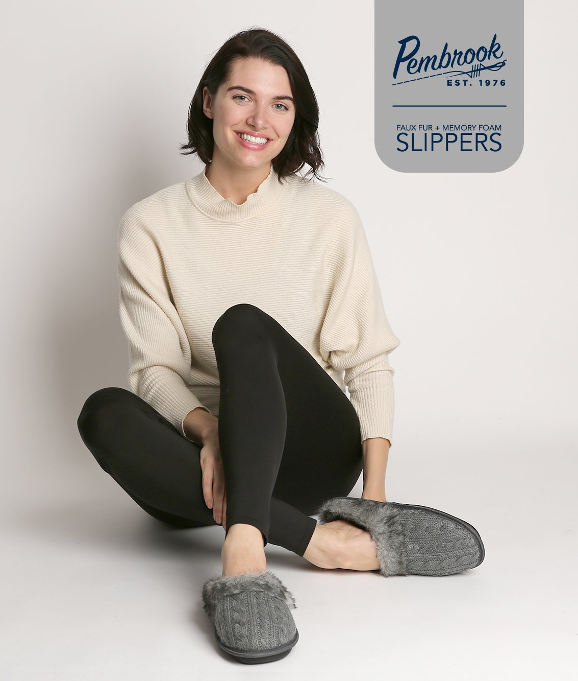 Pembrook Ladies Faux Fur + Cable Knit Slippers – Gray, Large - Comfortable Memory Foam Indoor and Outdoor Non-Skid Sole - Great Plush Slip on House Shoes for adults, women, girls by Pembrook (Image #4)