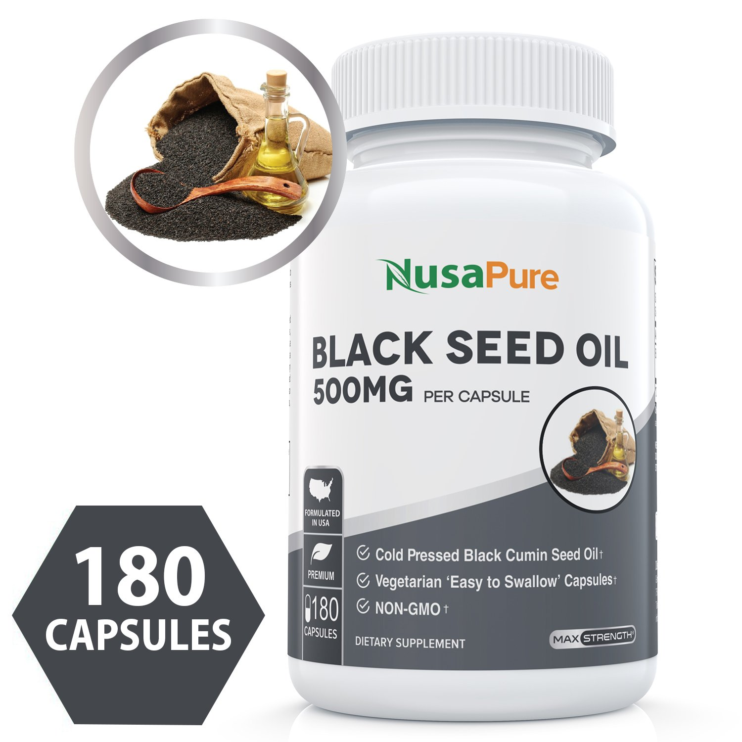 Best Black Seed Oil 180 Softgel Capsules (Non-GMO & Vegetarian) Premium Cold-Pressed Nigella Sativa Producing Pure Black Cumin Seed Oil with Vitamin E - Made in The USA - 100% Money Back Guarantee