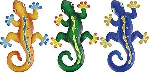 Scwhousi Metal Gecko Wall Decor, Lizard Wall Art,Outdoor Garden Fence Patio Art,Hanging Decorations for Living Room, Bedroom