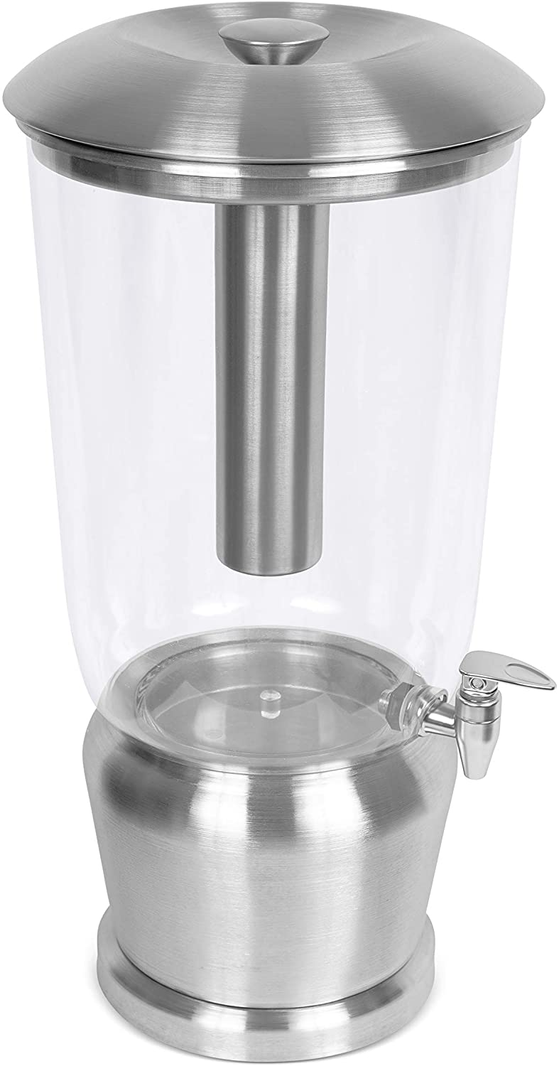 BirdRock Home 5 Gallon Stainless Steel Beverage Dispenser with Ice Container, Spigot - Round - Lemonade Sangria Tea Water Drink Jar Jug - Home Parties - BPA Free Clear Acrylic