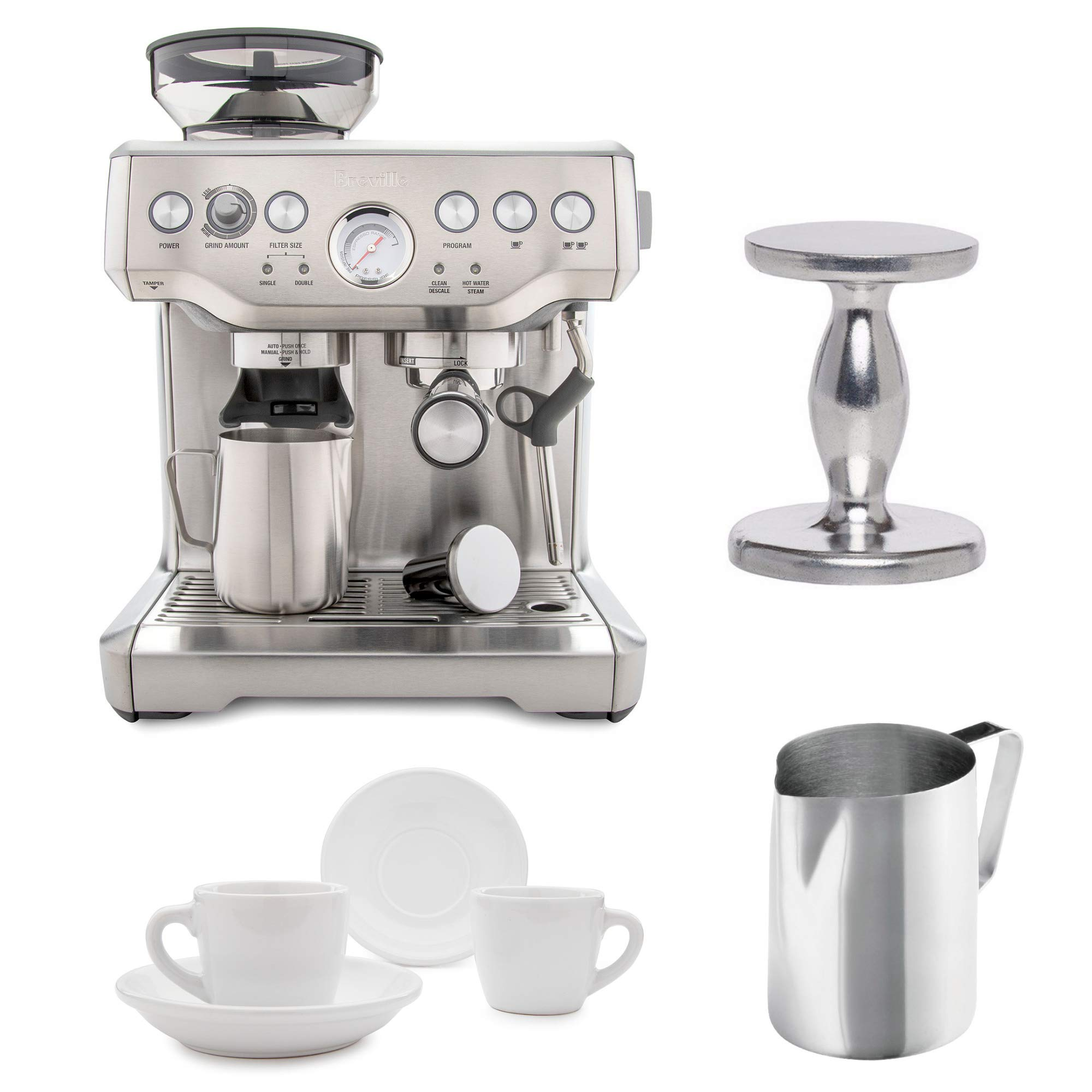 Breville BES870XL Barista Express Espresso Machine with Espresso Tamper, Frothing Pitcher & 2 Cup and Saucers by BREVILLE