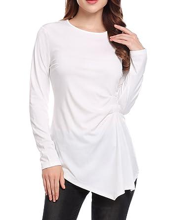 baefe03aefe Unibelle Womens Long Sleeve Irregular Hem Knot Front T-Shirt Pleated Blouse  Tops
