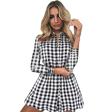 Femme Smock Manches overdose Chemise Robe Vichy Carreaux Casual xFp0tpwXq