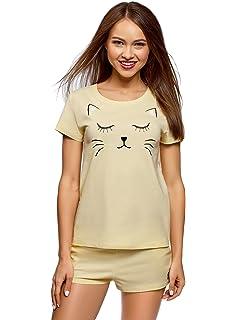 oodji Ultra Mujer Pijama de Algodón con Estampado